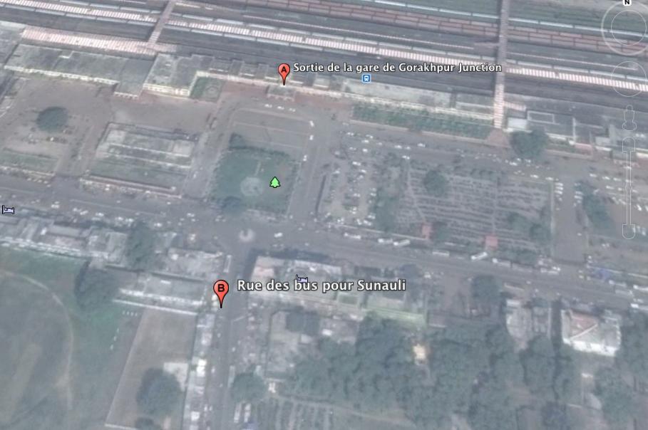 Plan de sortie de la gare à Gorakhpur