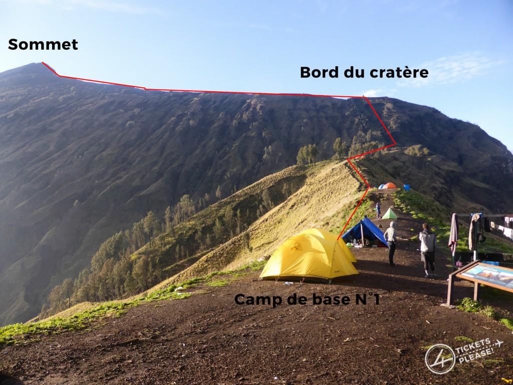 Le plan d'attaque depuis le cratère